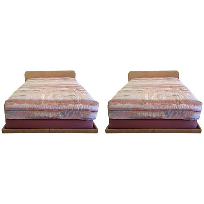 Pair of Vintage Faux Goatskin Queen Beds by Steve Chase