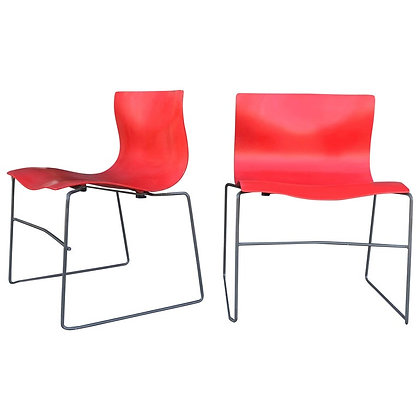 Pair of Rare Red Handkerchief Chairs by Massimo Vignelli, 1985