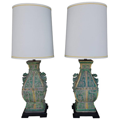 Pair of Vintage Ceramic Chinoiserie Lamps