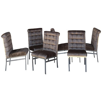 Set of Six Vintage Pierre Cardin Velvet Dining Chairs