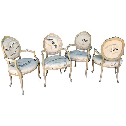 Set of 4 Silk Bergere Dining Chairs by Steve Chase