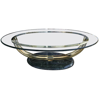80s Deco Style Glass and Brass Coffee Table