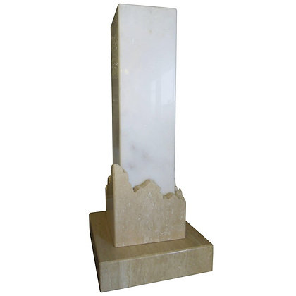 Signed Italian Travertine and Marble 1980s Modern Lamp
