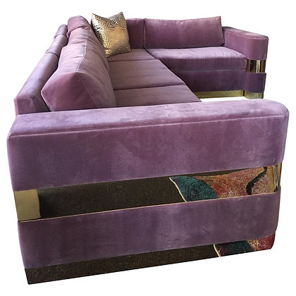 Custom Made Lavender Mohair and Brass Sofa from TV Series