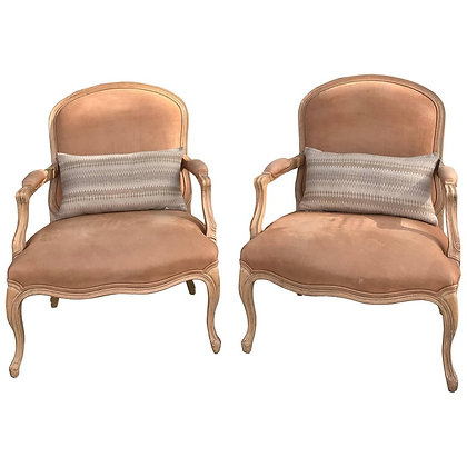 "Pair of Kreiss""Nude"" Faux Pigskin Bergere Chairs"