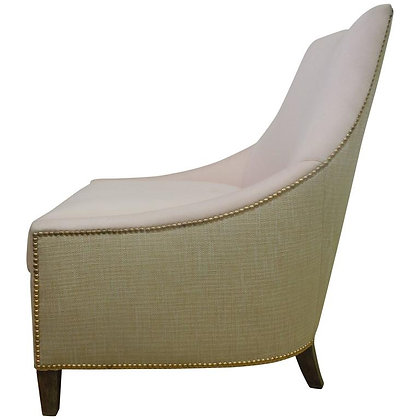 Contemporary Tan & Pink Linen Slipper Chair