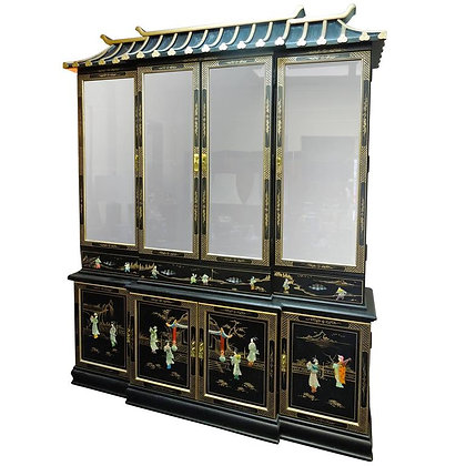 Very Chic 20th Century Chinoiserie Pagoda Glass Front Cabinet