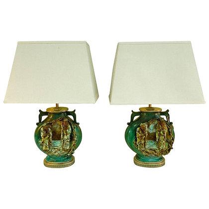 Mid-Century Italian Chinoiserie Lamps by Fantoni
