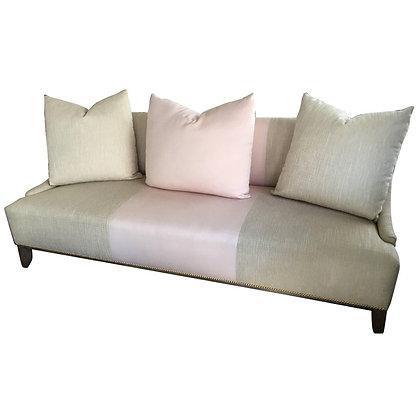 Contemporary Modern Tan & Pink Linen Custom Sofa