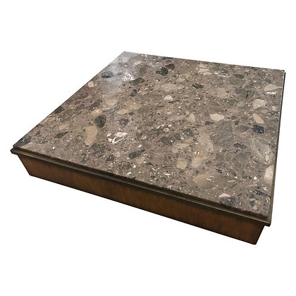 Modern Architectural Rare Brown Terrazzo Marble, Bronze and Wood Coffee Table