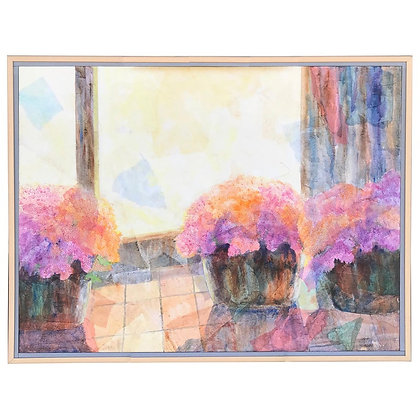 Large Original Floral Painting by Duzan 1992