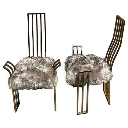 Pair of Brass Side Chairs in the style of Pierre Cardin