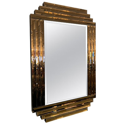 "Large Bronze and Clear Vintage ""Dynasty"" Mirror, 1980s"