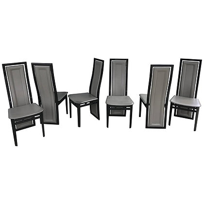 Set of Six 70s Italian Modern Black Lacquer Grey Leather Dining Chairs