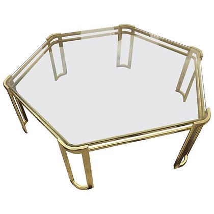 Vintage 1970s Hexagon Brass and Glass Coffee Table