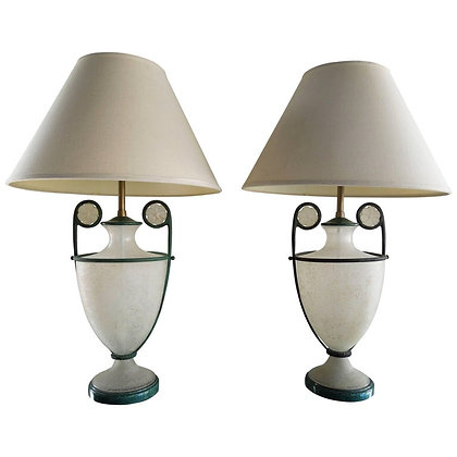 Pair of Seguso Vetri d' Arte Italian Glass & Verdigris Lamps