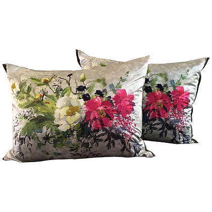 Pair of Fuchsia on Silver Embroidered Sateen Floral Throw Pillows