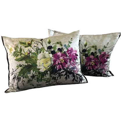 Pair of Embroidered Floral Sateen Throw Pillows by Designer's Guild