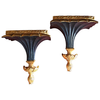Pair of Italian Black& Gold Hollywood RegencyWall Shelves