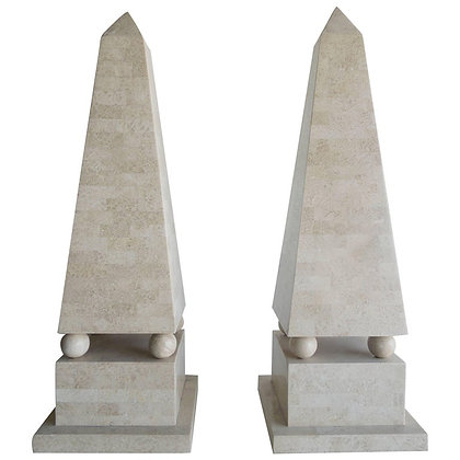 Pair of Large Maitland Smith Modernist Travertine Obelisks