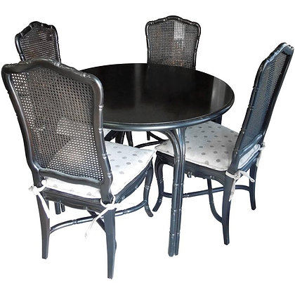 Vintage Hollywood Regency Black Round Dining Table & 4 Chairs Set