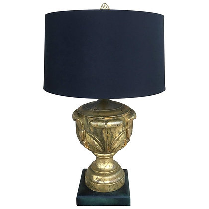 Chic Gold Leaf Custom Hollywood Regency Table Lamp