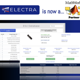 Electra Vehicles, Inc. joins MathWorks Connections Program: EnPower™  simulation exports to MATLAB®