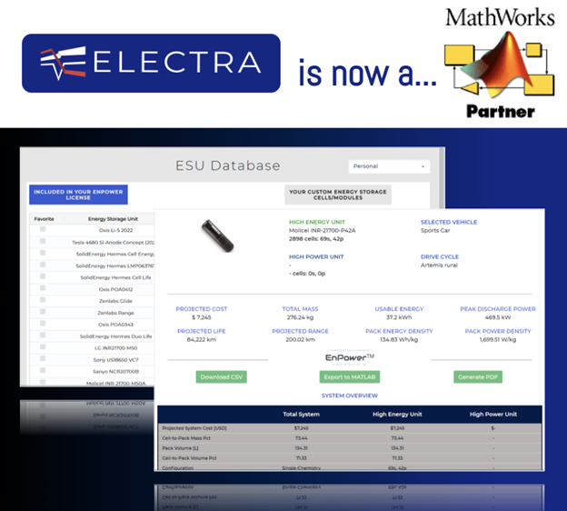 Electra Vehicles is a Mathworks Partner. Export battery simulation results to MATLAB and Simulink.