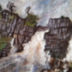 This is a wet felted picture with machine embroidery and needle felted detail. It is an image of High Force whichis a waterfall in Teesdale. The Tees is in flood and there is a rainstorm approaching. The picture is made from Merino Wool, Mulberry Silk, mixed fibres, curly locks, raw fleece. In the river are rocks and brown peat.