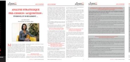 Analyse stratégique pré-cession / acquisition : évidence, et si seulement ...