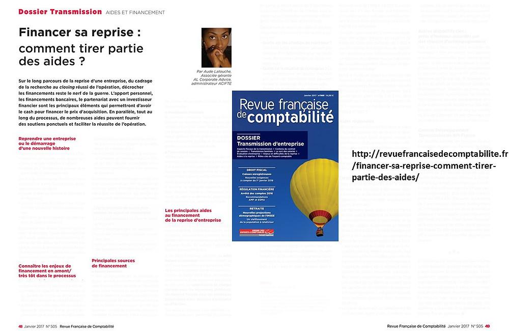 Article Aude Latouche Financer sa reprise : comment tirer partie des aides? (Revue française de comptabilité- Janvier 2017)