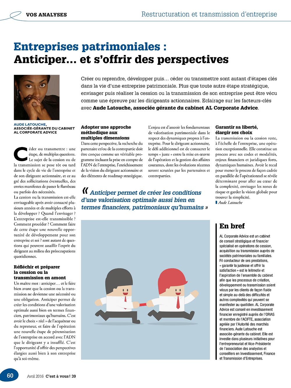 C'est A Vous - Magazine MEDEF Paris - Avril 2016