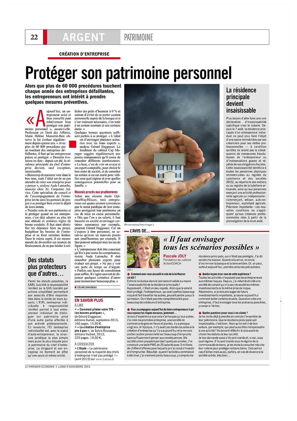 Le Parisien Economie- Dossier Argent/Patrimoine - Novembre 2015