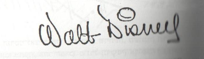וולט דיסני חתם בקו נמרץ וחיוני עם קערות רבות המעידות על רגש. החתימה ברורה ועם זאת מקורית וחייכנית - העיגול עם הקו שיכול להיות גם חיוך בפרצוף. החתימה משדרת מרץ, התלהבות ורצון להגשמה.