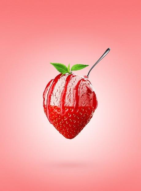 PHOTOSHOP / イチゴまるごとアイス広告のレタッチ合成ポイント