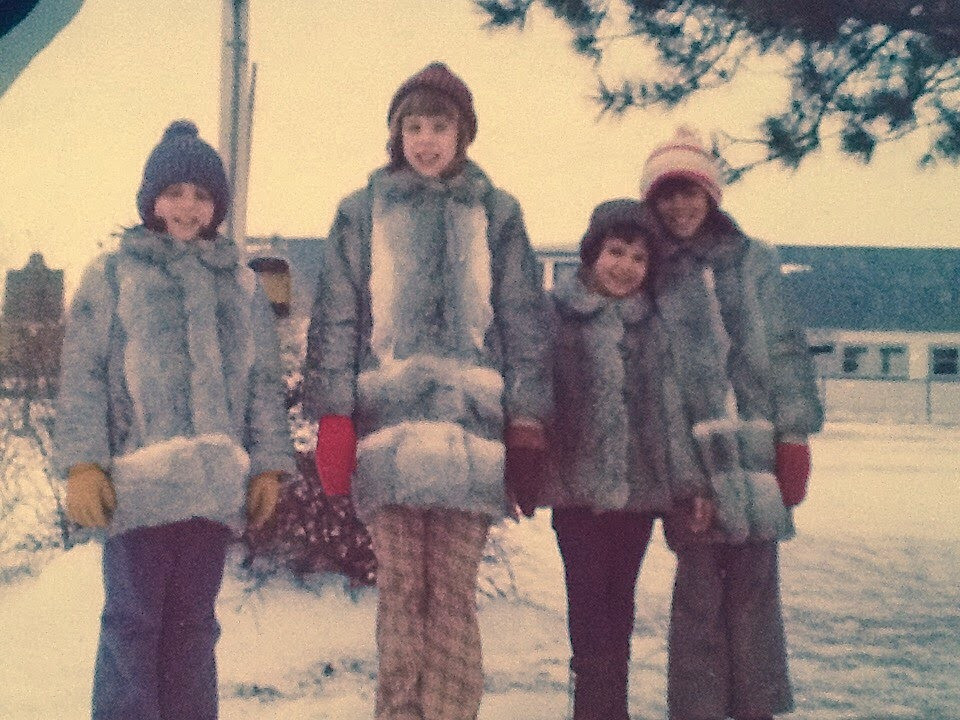 Me and my sisters and our fur coats