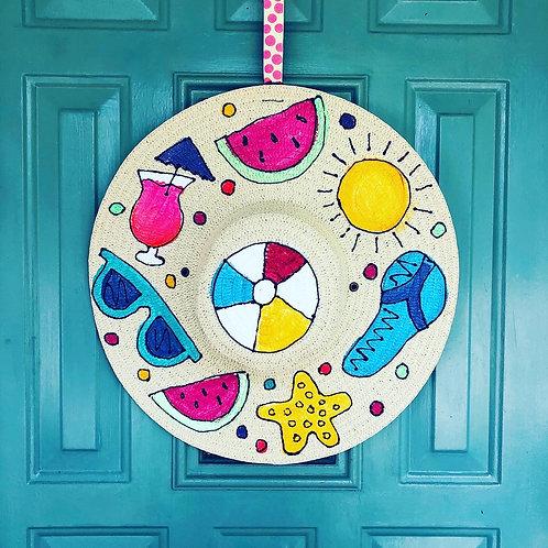 Hand-painted Summer Hat Door Hanger
