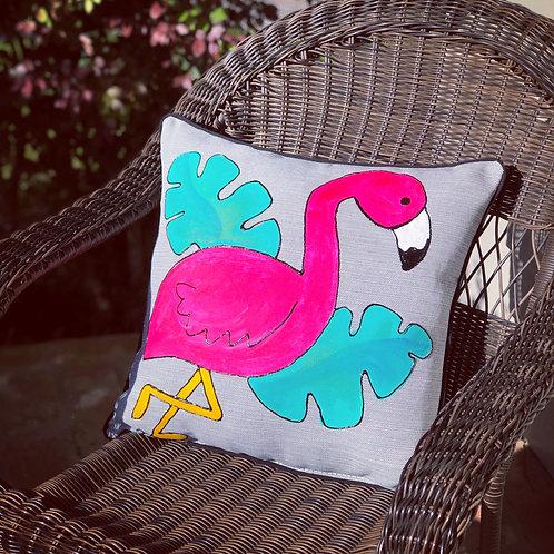 Outdoor Flamingo Pillow