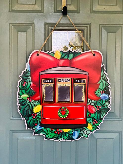 Streetcar Holiday Wreath Door Hanger