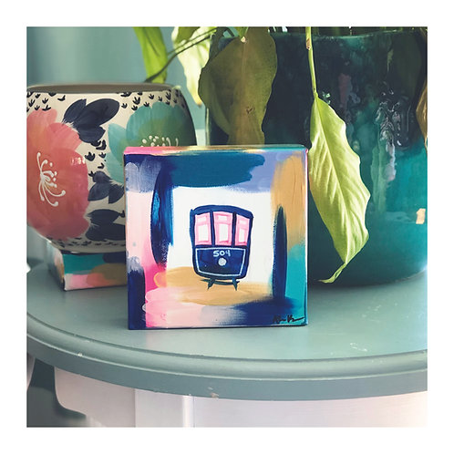 """6x6 Hand-painted """"Streetcar"""" Canvas"""