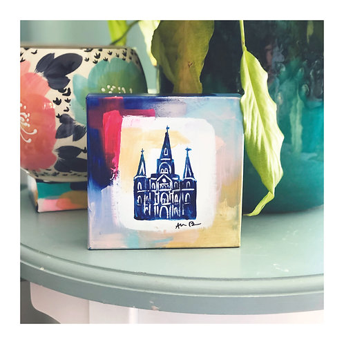 "6x6 Hand-painted ""St. Louis Cathedral"" Canvas"