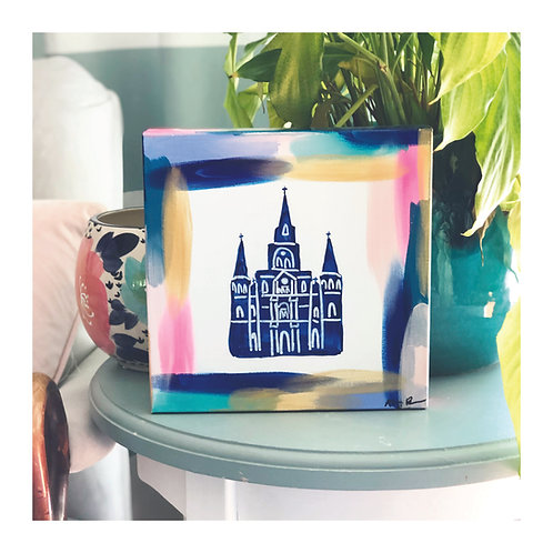 """10x10 Hand-painted """"St. Louis Cathedral"""" Canvas"""