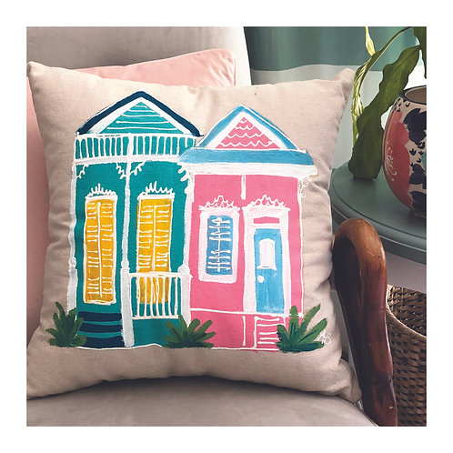 "Hand-painted ""NOLA Houses #1"" Pillow"