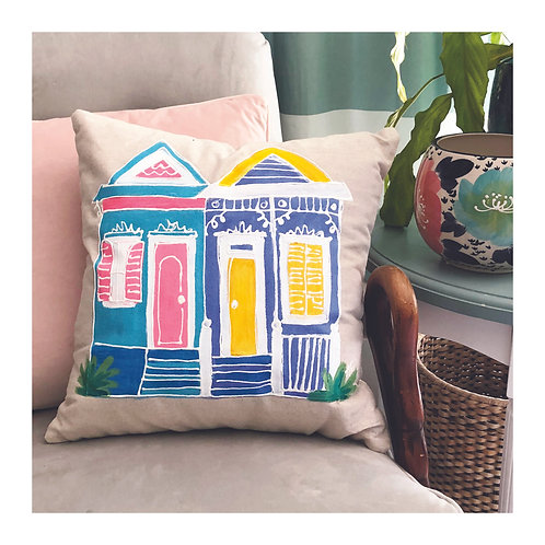 "Hand-painted ""NOLA Houses #2"" Pillow"