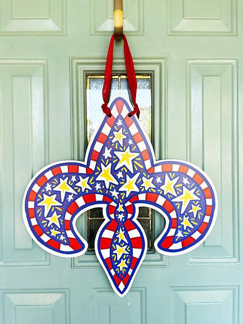 Patriotic Fleur De Lis Door Hanger