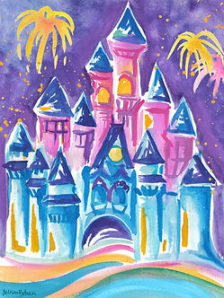 Disney's Magic Kingdom. Painting by Allison Dugas Behan. 100% of profits go to Louisiana Flood Relief.