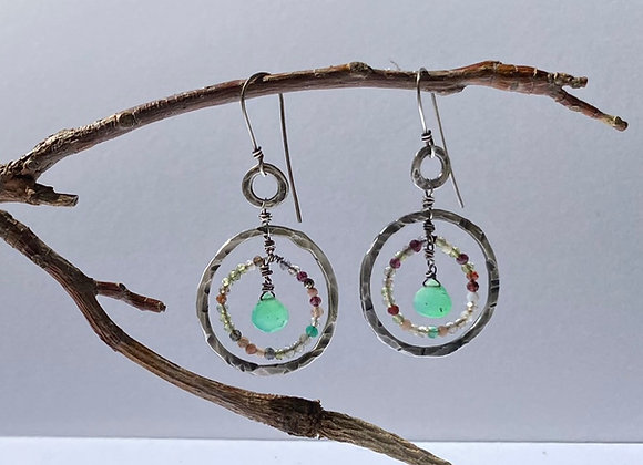 Sterling Circle Celestial Earring