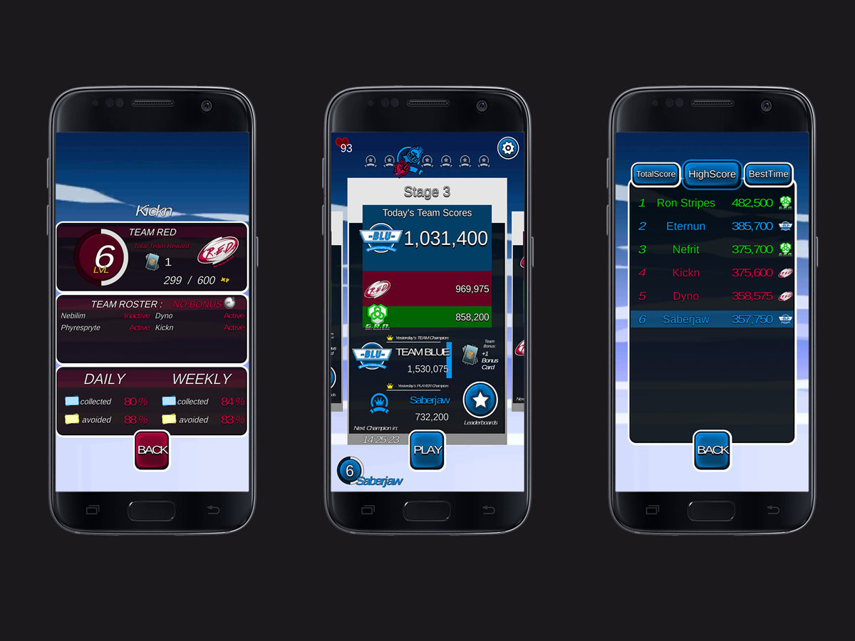 GUI & Menus: Player profile, Team status and Stage leaderboards