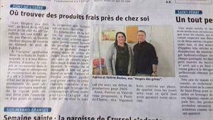 Article de presse du Dauphiné sur l'exploitation Les vergers des grives, vente directe producteur.