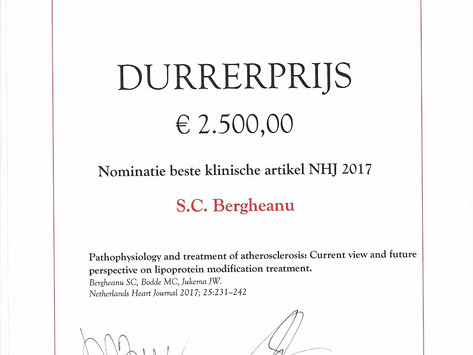 Durrer Prize for Best Clinical Article NHJ 2017